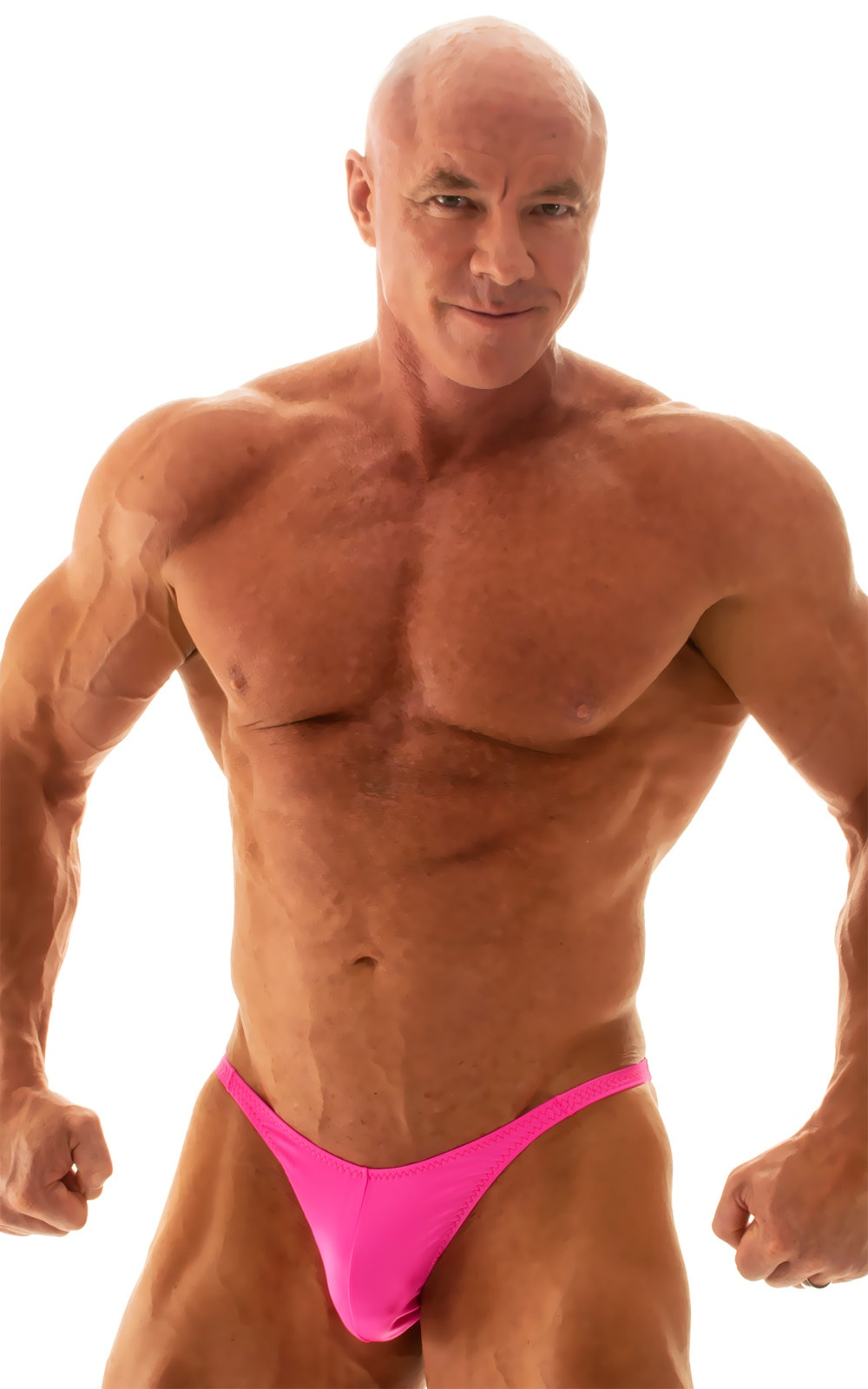 Fitted Pouch - Puckered Back - Posing Suit in Wet Look Hot Pink 1