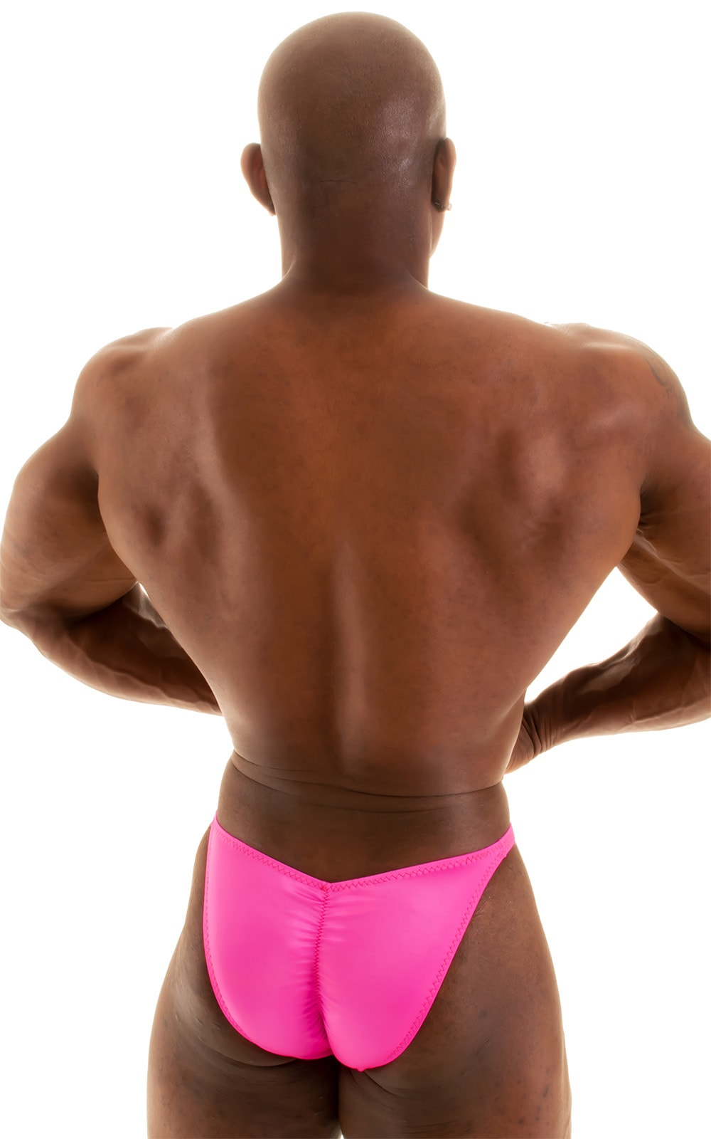 Fitted Pouch - Puckered Back - Posing Suit in Wet Look Hot Pink 4