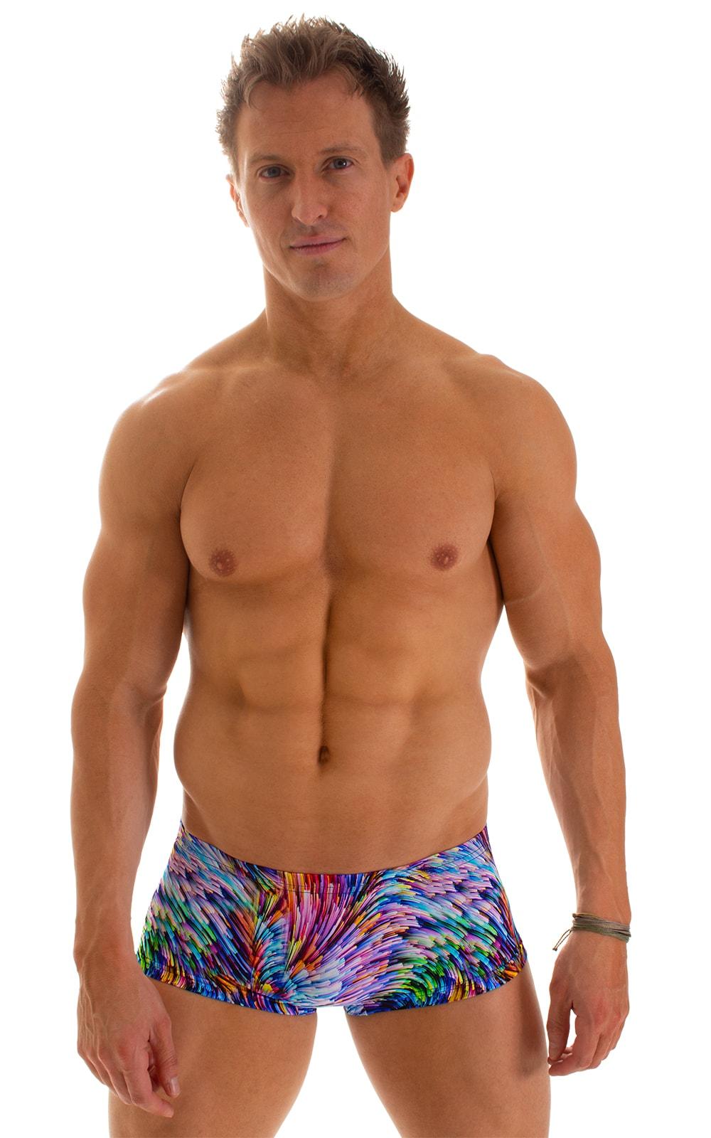 Extreme Low Square Cut Swim Trunks in Illumine 1
