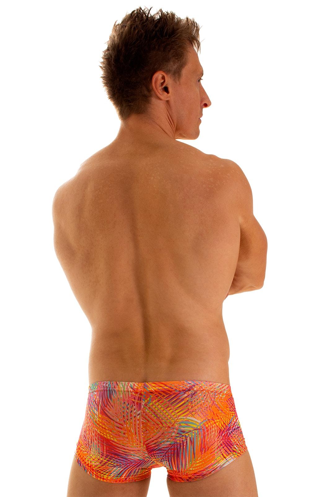 Extreme Low Square Cut Swim Trunks in Tan Through Orange Jungle 2