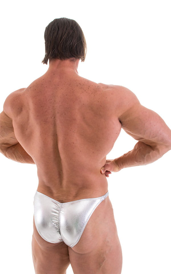 Fitted Pouch - Puckered Back - Posing Suit in Metallic Liquid Chrome 3