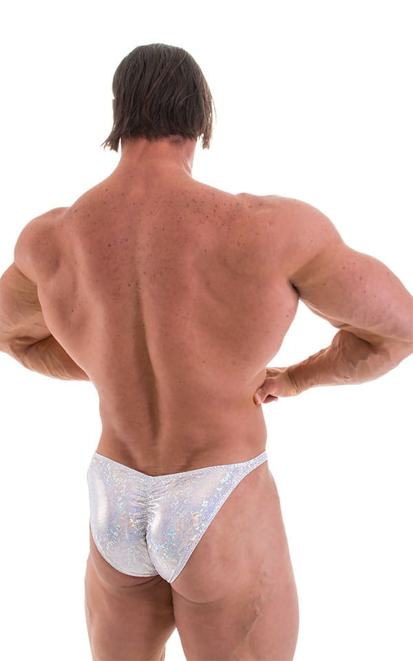 Fitted Pouch - Puckered Back - Posing Suit in Holographic White Silver 3