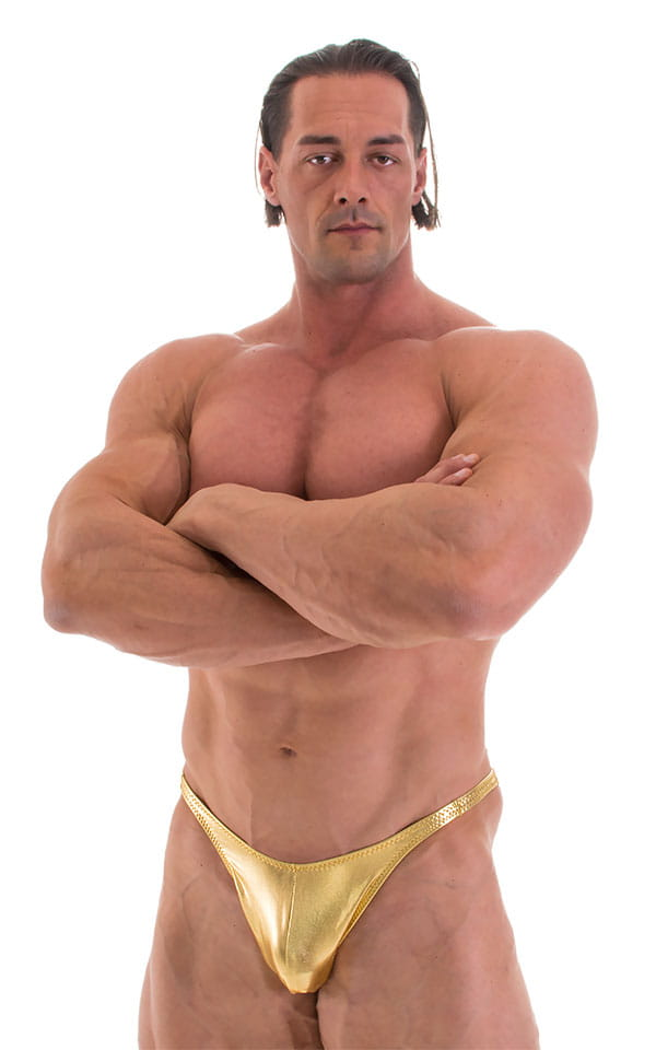 Fitted Pouch - Puckered Back - Posing Suit in Metallic Liquid Gold 1