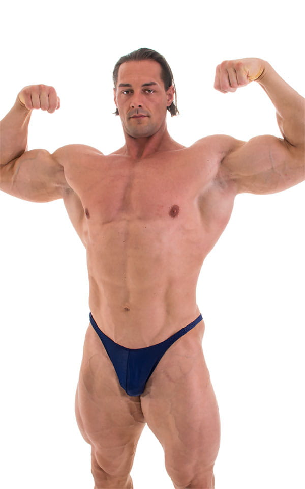 Fitted Pouch - Puckered Back - Posing Suit in Wet Look Navy Blue 6