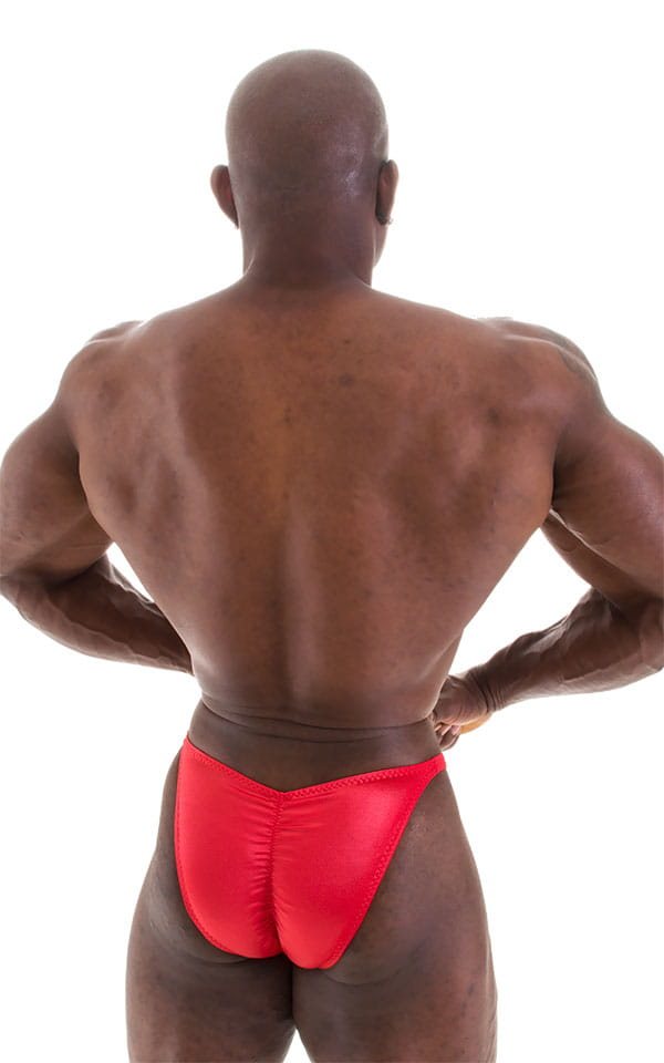 Fitted Pouch - Puckered Back - Posing Suit in Wet Look Lipstick Red 5