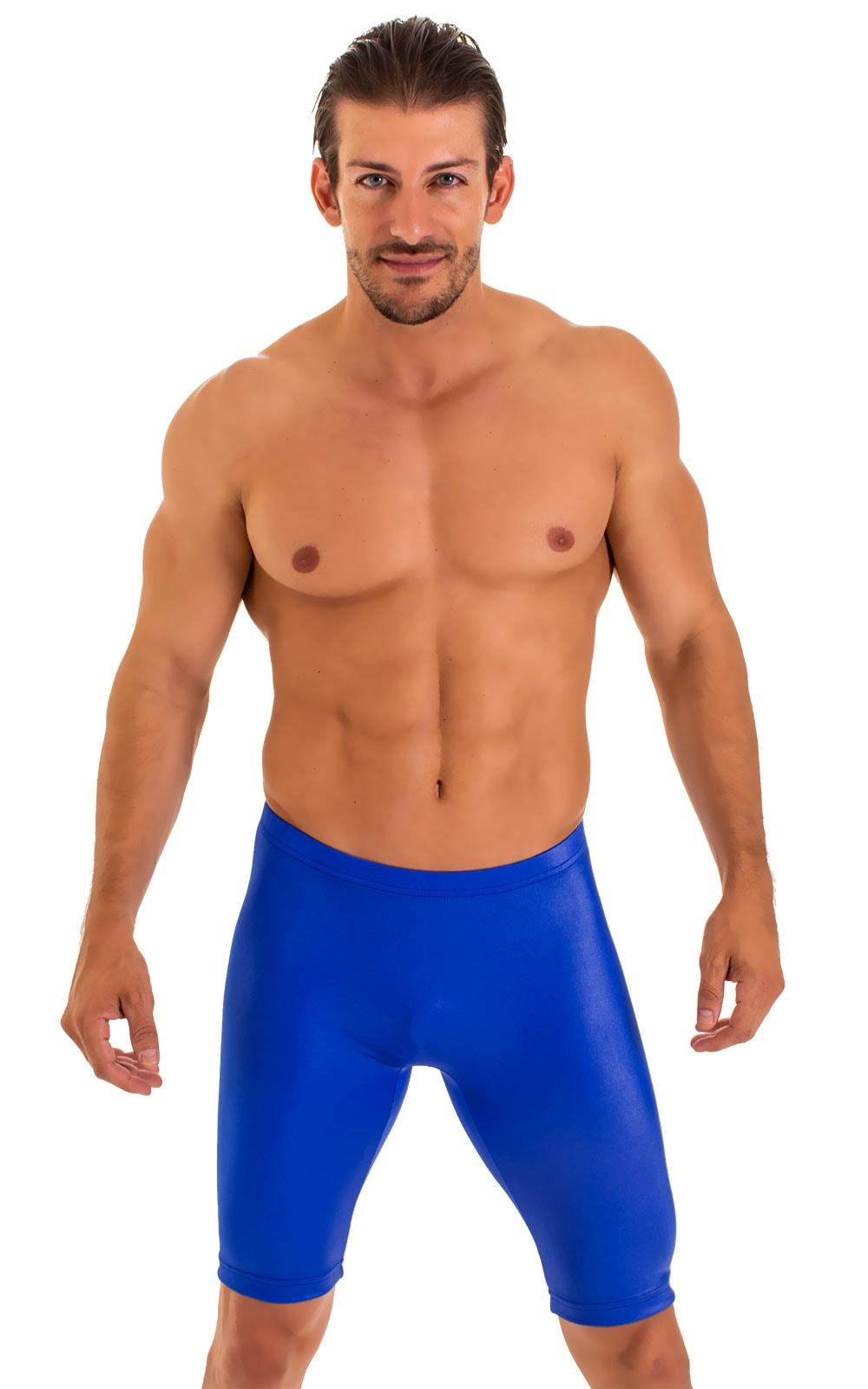 Lycra Bike Length Shorts in Wet Look Royal Blue 1