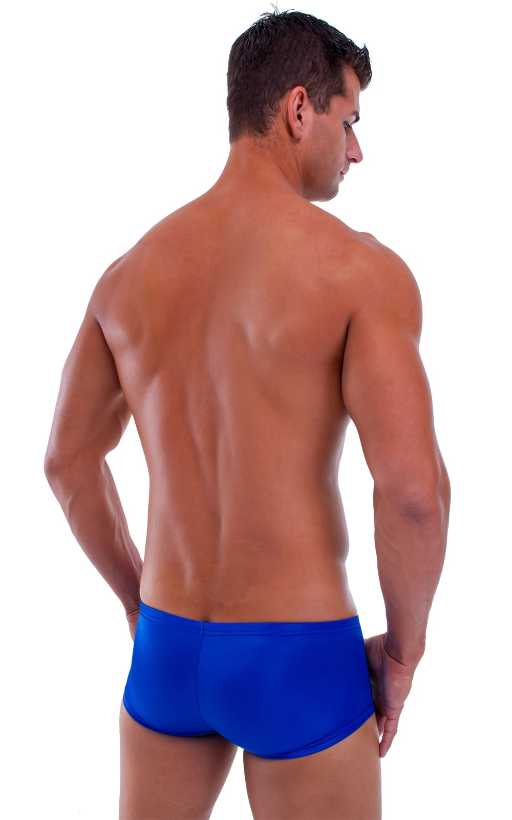 Extreme Low Square Cut Swim Trunks in Wet Look Royal Blue 3