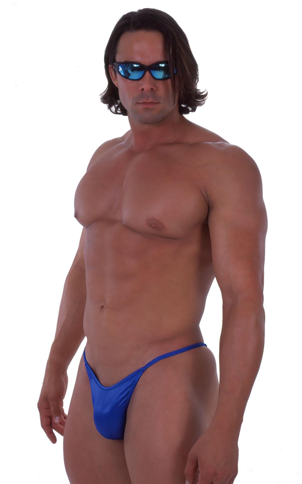 Skinny Side Half Back Swim Suit in Wet Look Royal Blue 3