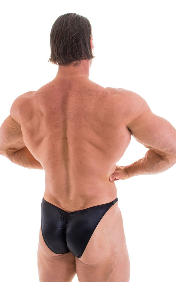 Fitted Pouch - Puckered Back - Posing Suit in Wet Look Black 3