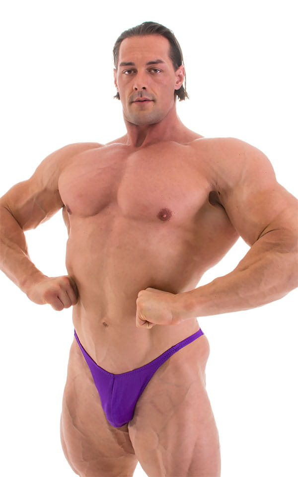 Fitted Pouch - Puckered Back - Posing Suit in Wet Look Purple 6