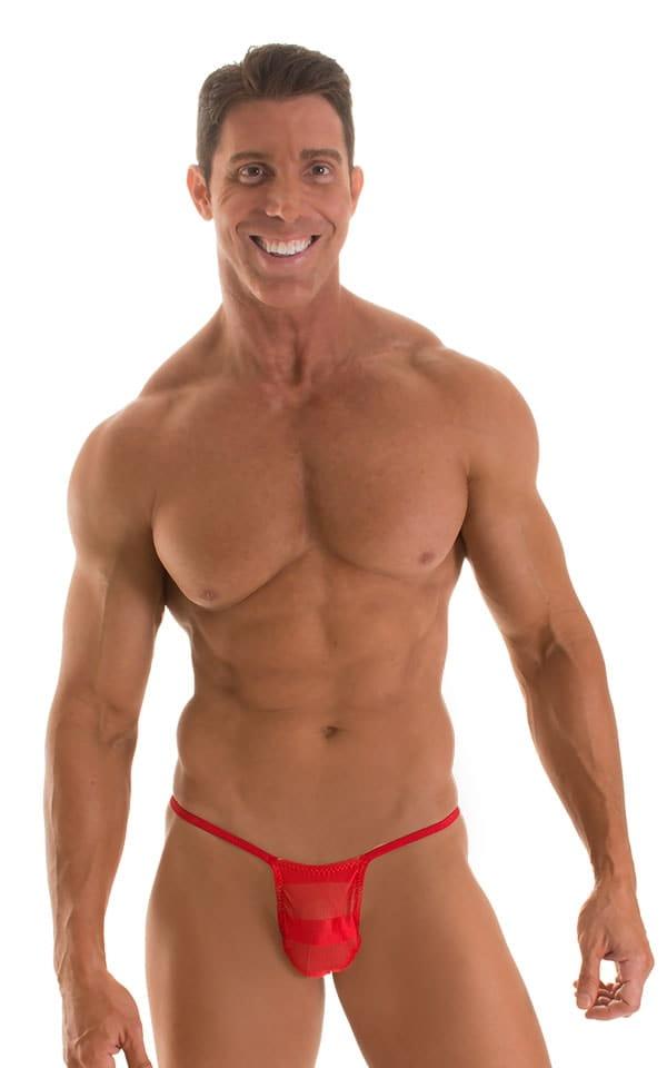 Roman G String Swim Thong in Red Satin Stripe Mesh with Red Strings 1