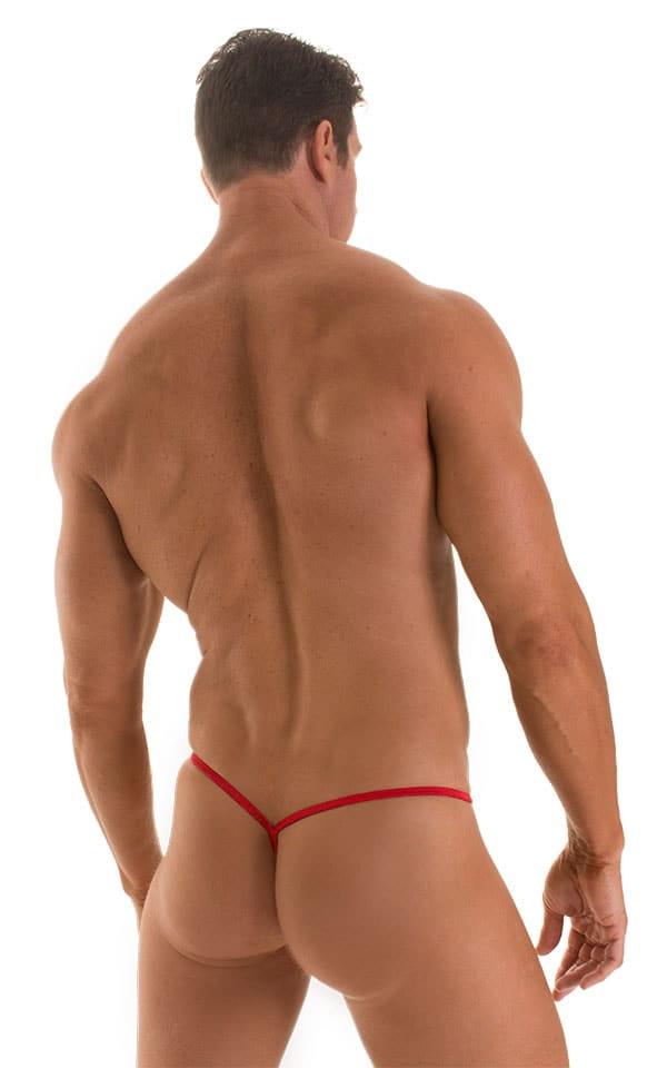 Roman G String Swim Thong in Red Satin Stripe Mesh with Red Strings 2