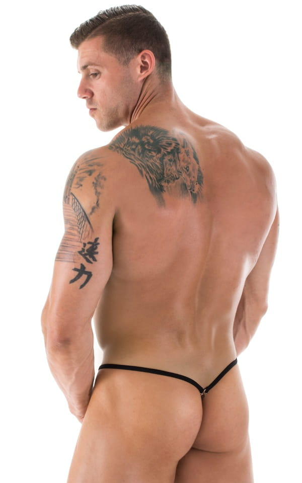 G String Swimsuit - Adjustable Pouch in Black tricot-nylon-lycra 2