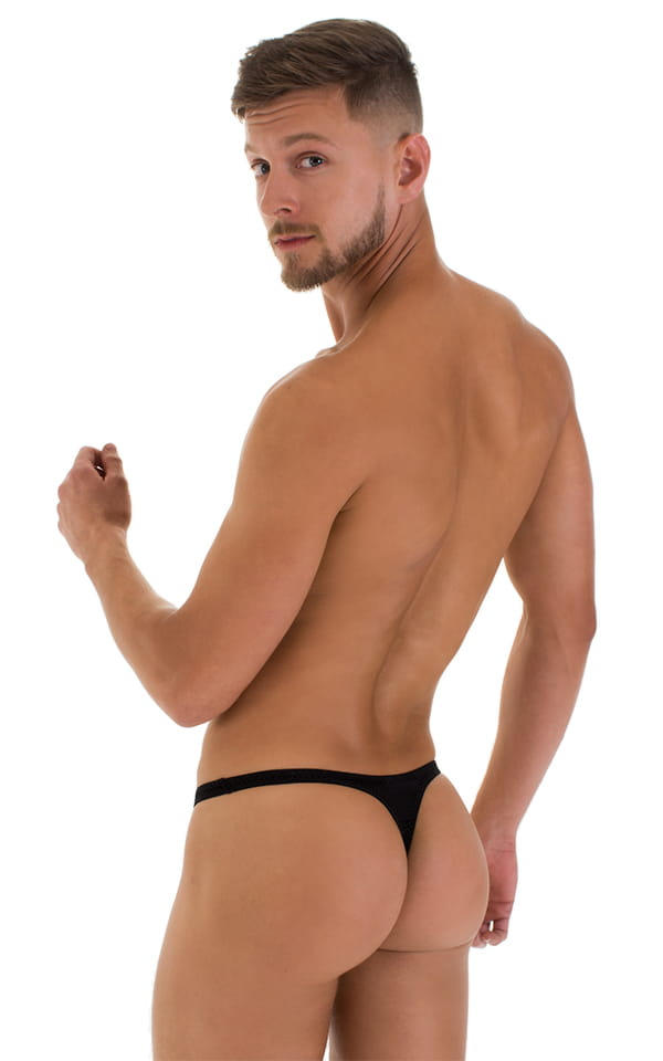 T Back Thong Swimsuit - Bravura Pouch in Super ThinSKINZ Black 3