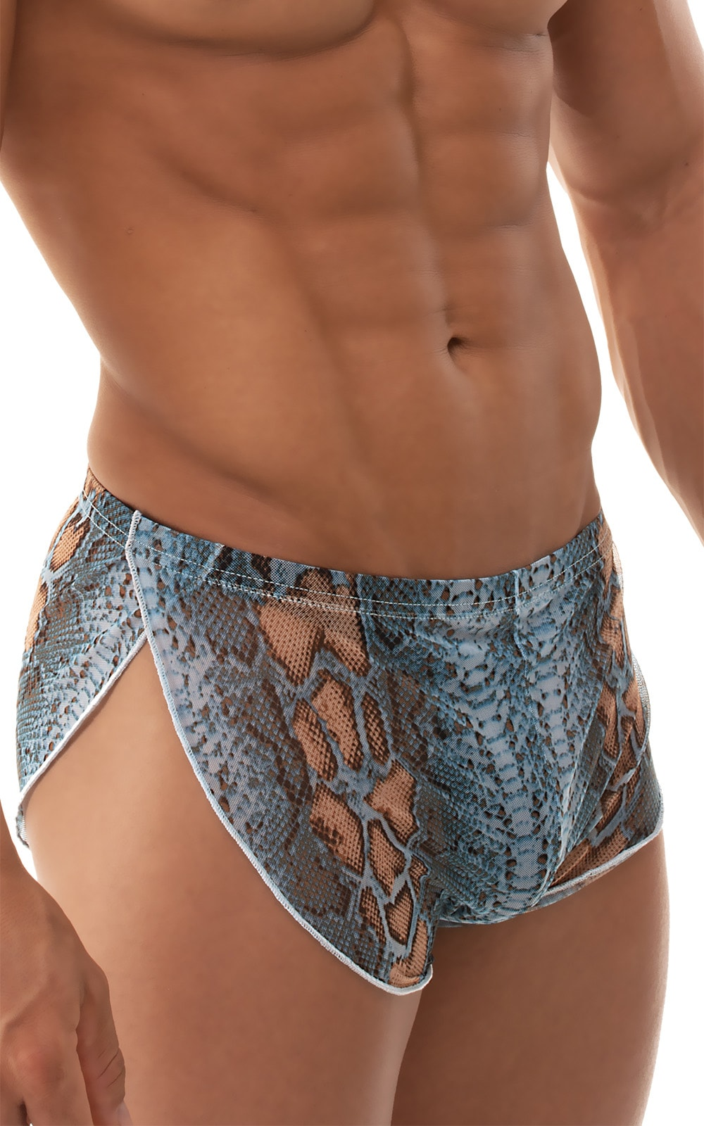Swimsuit Cover Up Split Running Shorts in Turquoise Python Stretch mesh 4