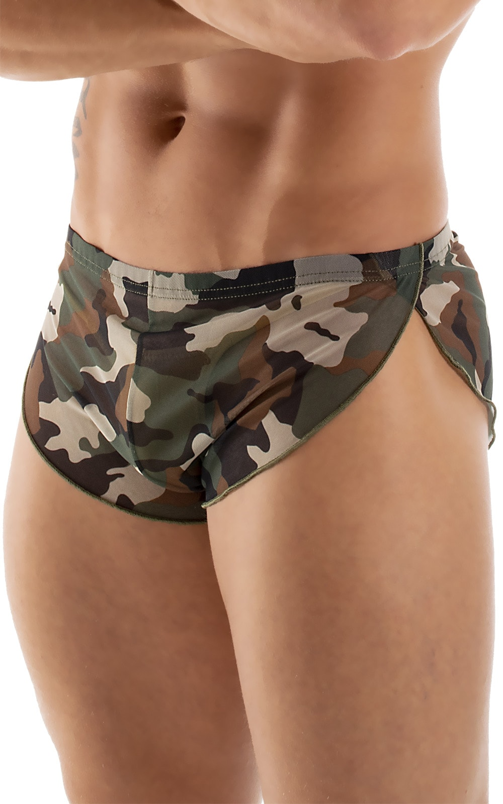 Swimsuit Cover Up Split Running Shorts in Mesh Camouflage 6