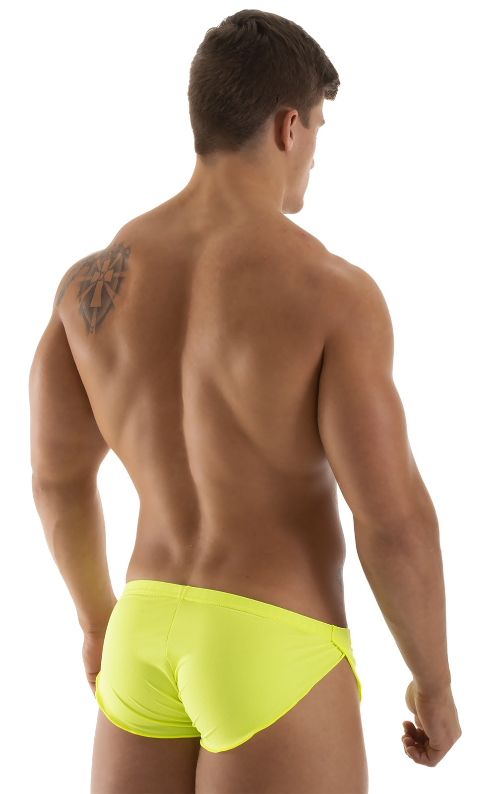 Swimsuit Cover Up Split Running Shorts in Semi Sheer Chartreuse 3