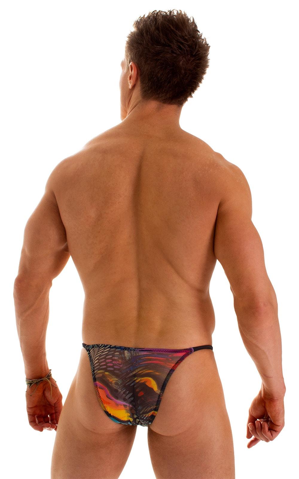 Sunseeker2 Tanning Swimsuit in Semi Sheer Aquarious Print on mesh 2