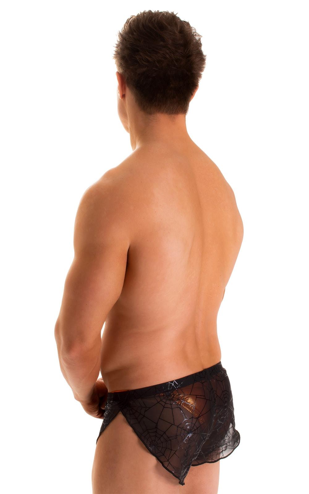 Swimsuit Cover Up Split Running Shorts in Semi Sheer Black Spiderweb mesh 2