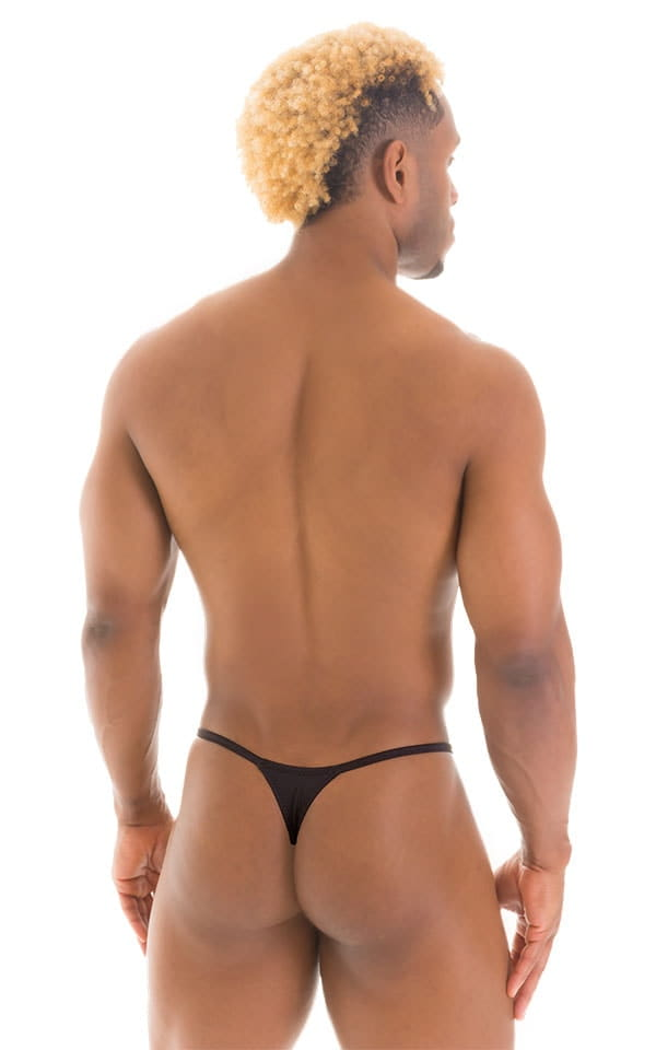 Smooth Pouch Skinny Sides Swim Thong in Super ThinSKINZ Black 3