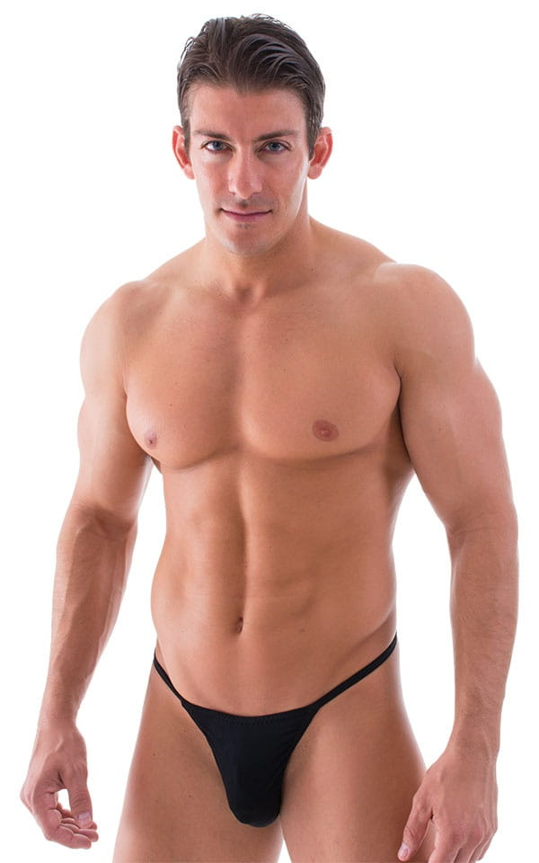 Smooth Pouch Skinny Sides Swim Thong in Semi Sheer Black 1