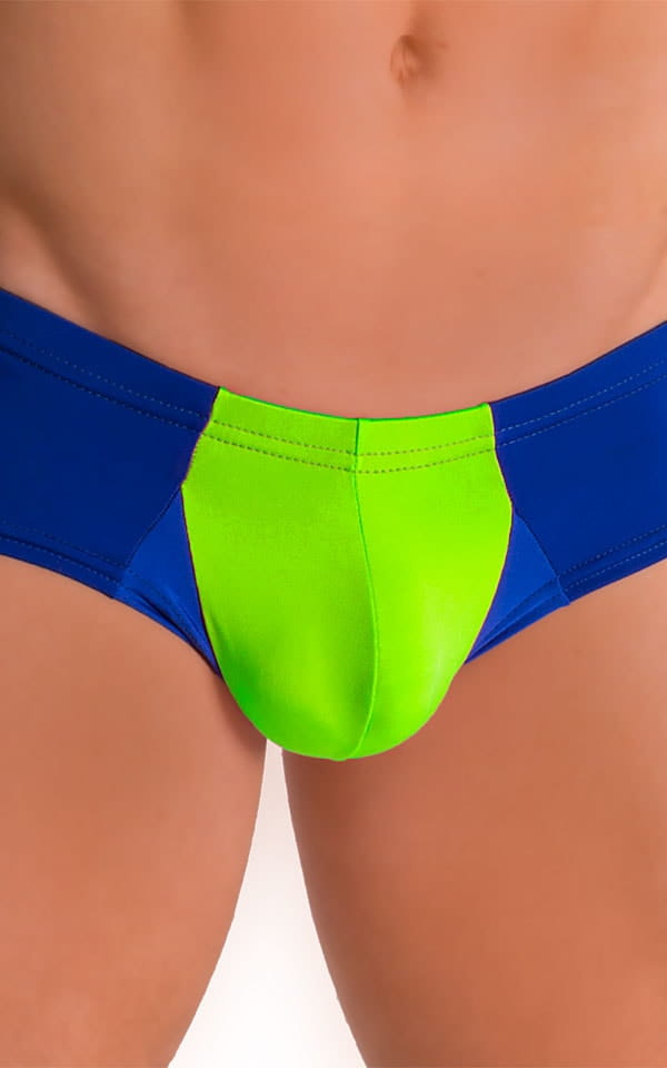 Pouch Enhanced Micro Square Cut Swim Trunks in ThinSKINZ Neon Lime and Royal Blue 3