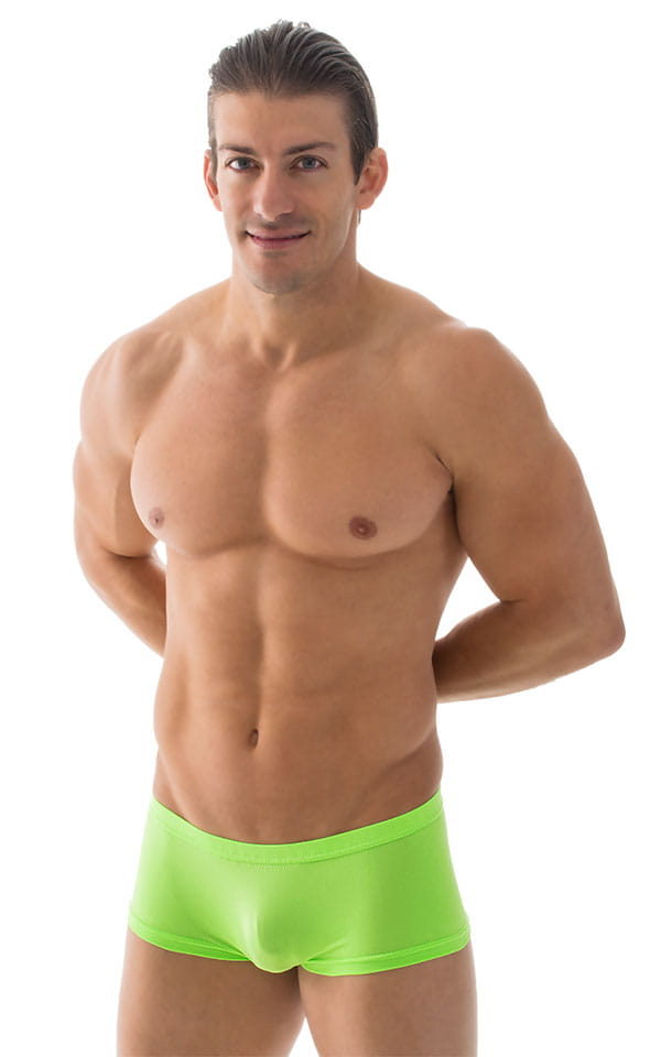 Extreme Low Square Cut Swim Trunks in ThinSKINZ Neon Lime 1
