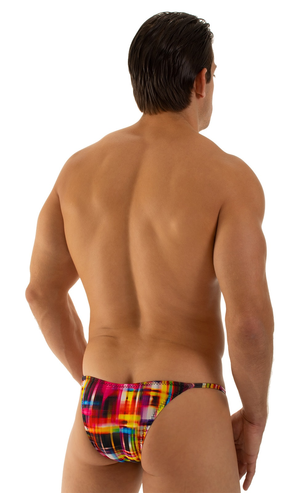 Stuffit Pouch Half Back Tanning Swimsuit in Semi Sheer ThinSKINZ Optic Plaid 3