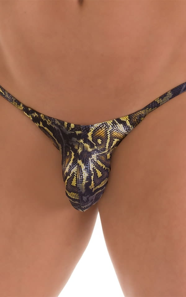 Stuffit Pouch Half Back Tanning Swimsuit in Super ThinSKINZ Coiled Python 3