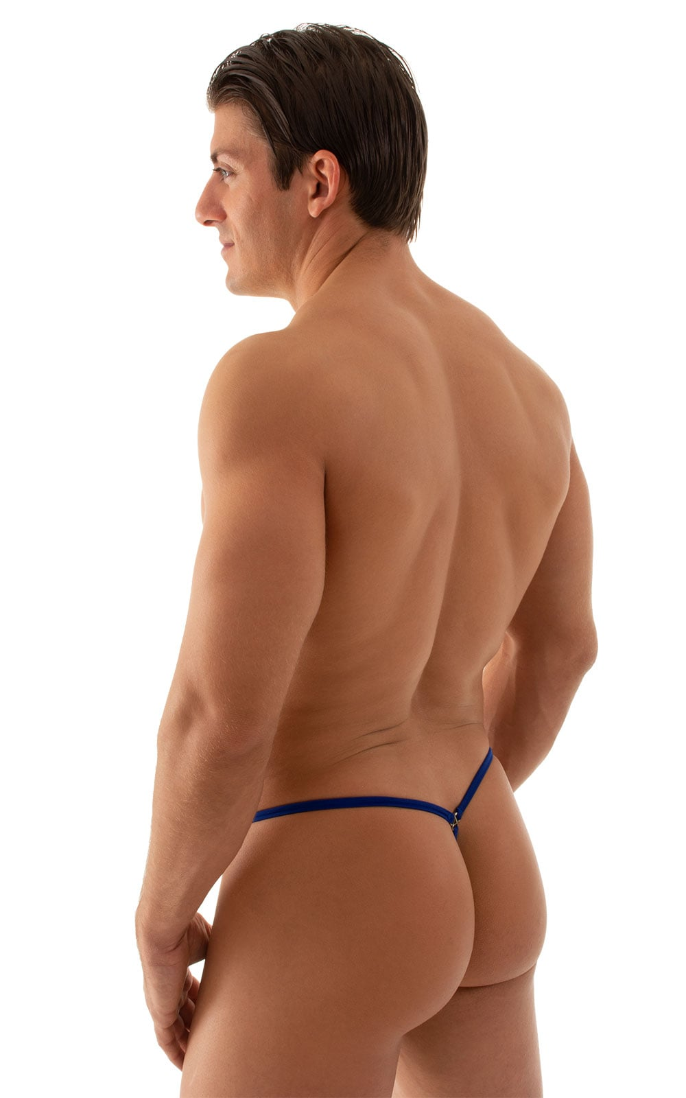 G String Swimsuit - Adjustable Pouch in Semi Sheer ThinSKINZ Royal Blue 3