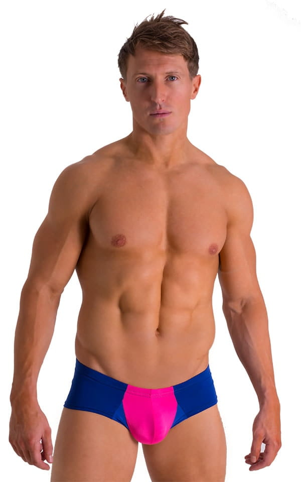 Pouch Enhanced Micro Square Cut Swim Trunks in ThinSKINZ Neon Pink and Royal Blue 1