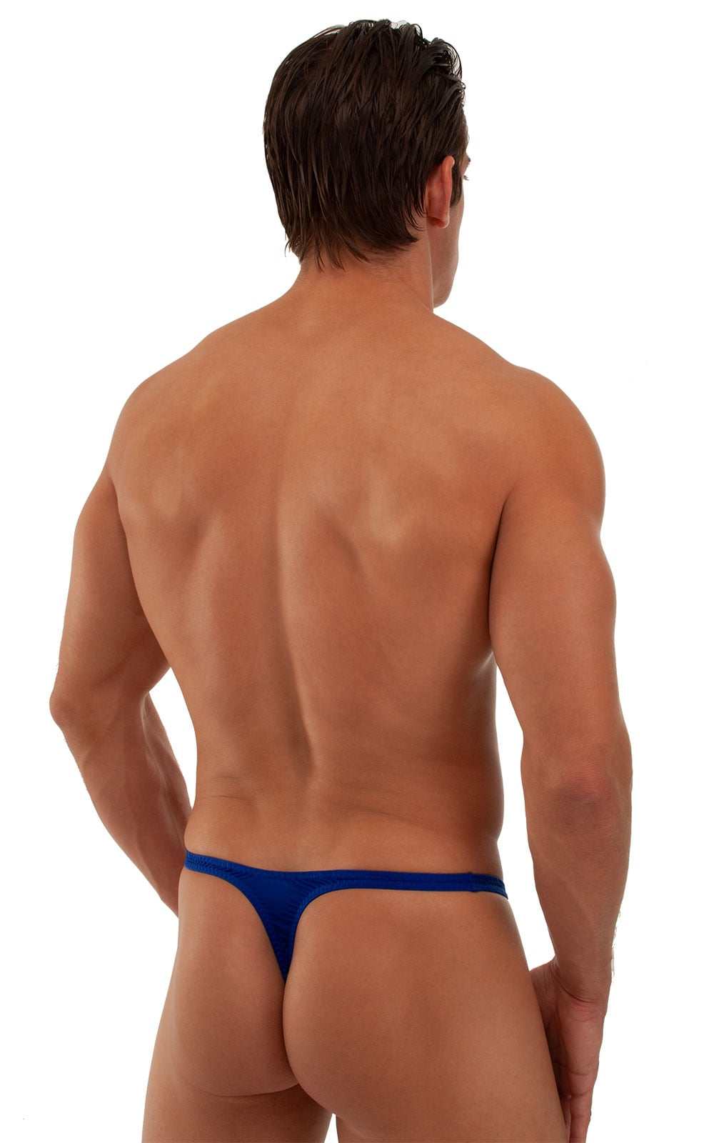 T Back Thong Swimsuit - Bravura Pouch in Semi Sheer ThinSKINZ Royal Blue 3