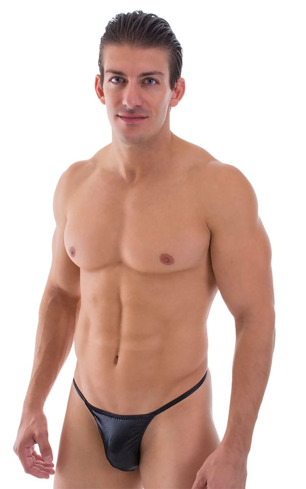 Smooth Pouch Skinny Sides Swim Thong in Wet Look Black 1