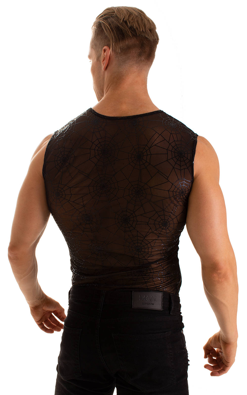 Sleeveless Lycra Muscle Tee in Spiderweb Stretch Mesh 4