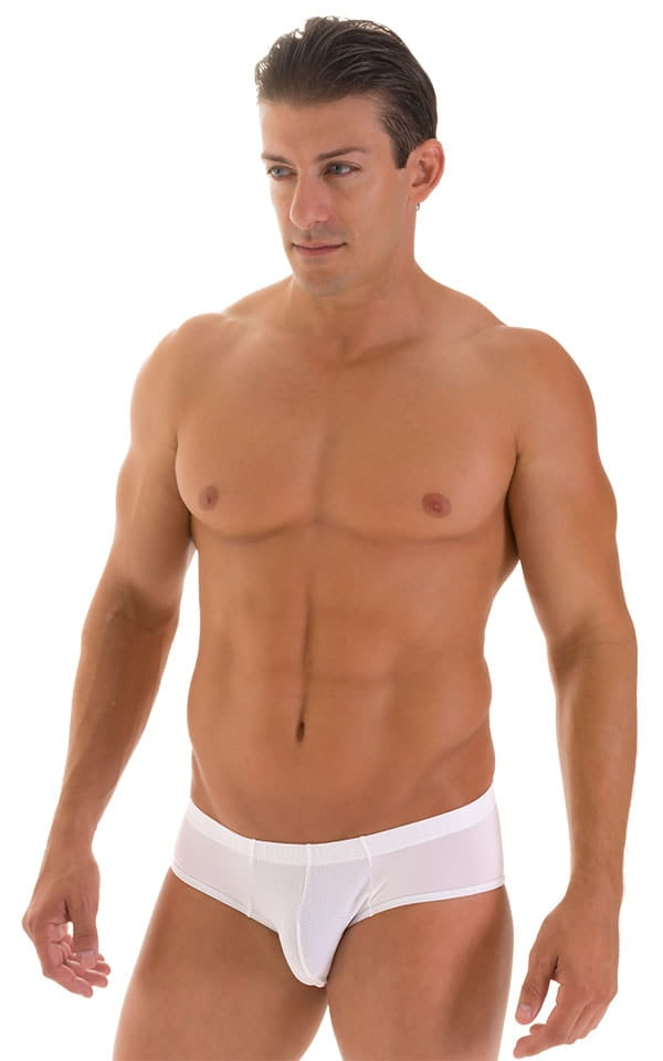 Pouch Brief Swimsuit in White Powernet and Super ThinSKINZ White 1