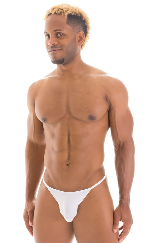 Smooth Pouch Skinny Sides Swim Thong in Super ThinSKINZ White 1