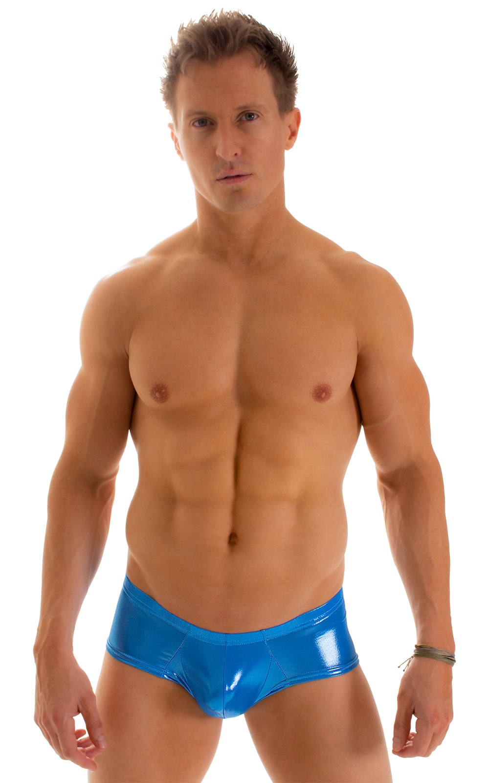 Pouch Enhanced Micro Square Cut Swim Trunks in Ice Karma Electric Blue 1