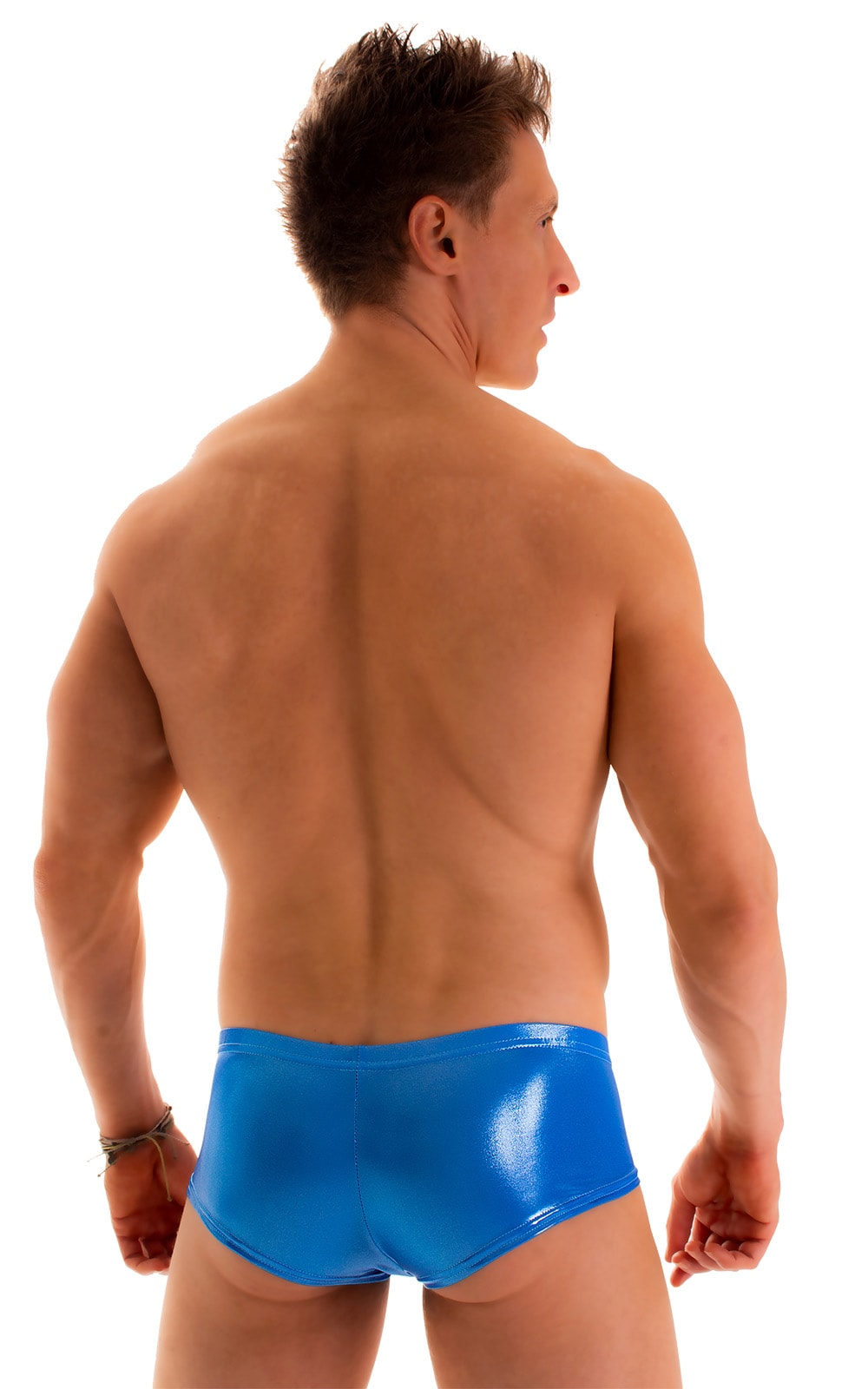Pouch Enhanced Micro Square Cut Swim Trunks in Ice Karma Electric Blue 2