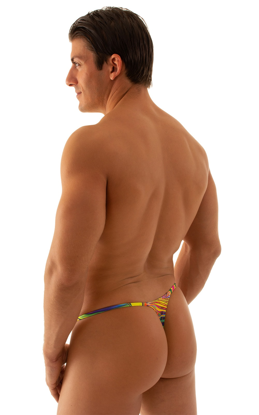 Smooth Pouch Skinny Sides Swim Thong in Neon Dali 2