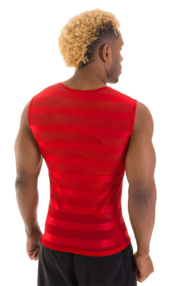 Sleeveless Lycra Muscle Tee in Red Satin Stripe Mesh 3
