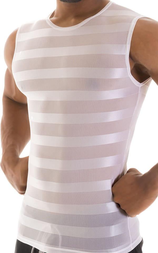 Sleeveless Lycra Muscle Tee in White Satin Stripe Mesh 4