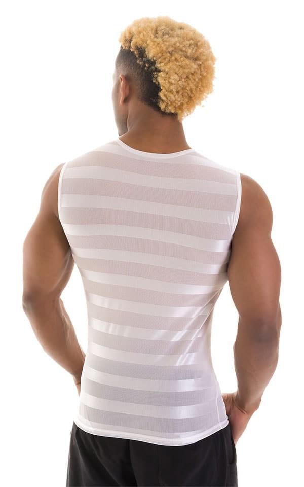 Sleeveless Lycra Muscle Tee in White Satin Stripe Mesh 3