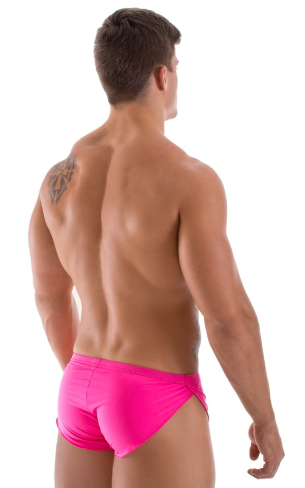 Swimsuit Cover Up Split Running Shorts in Semi Sheer Hot Pink 3