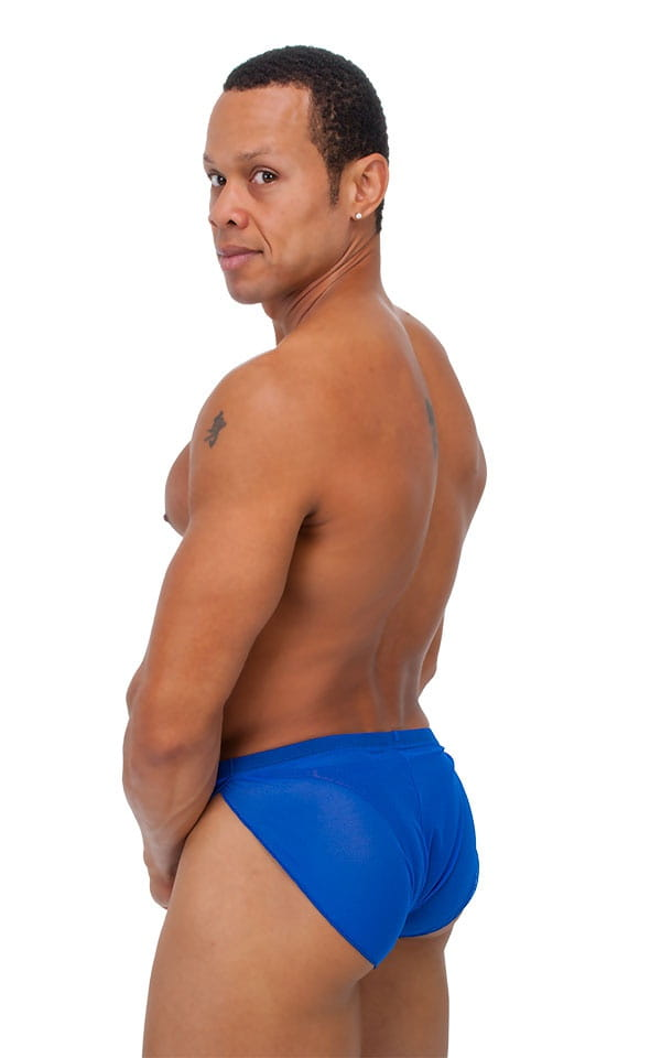 Swimsuit Cover Up Split Running Shorts in Royal Blue Stretch Mesh 3