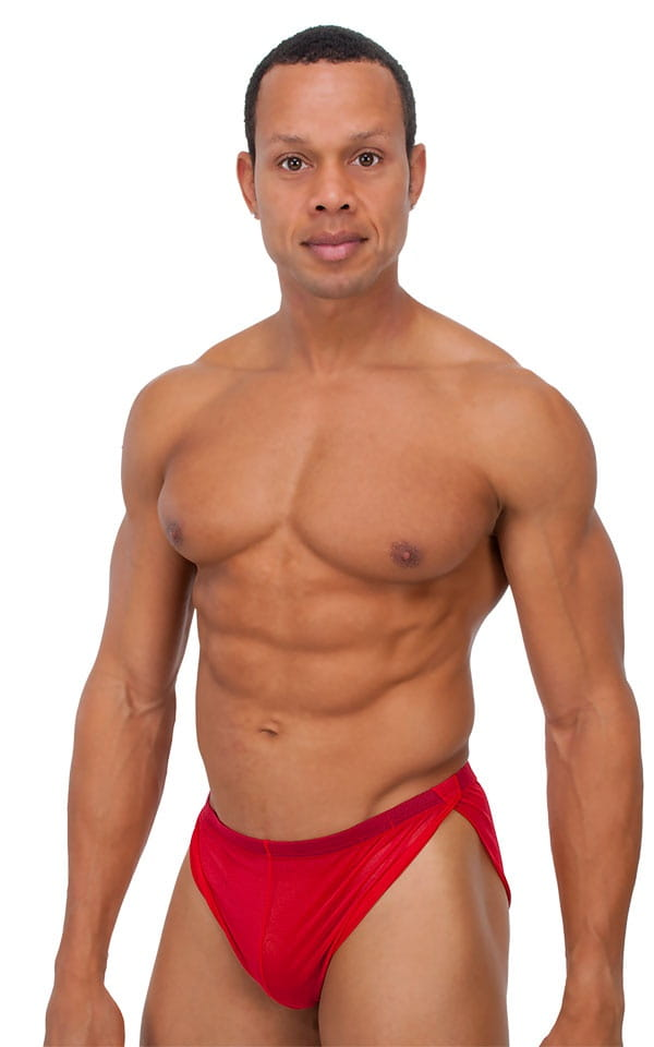 Swimsuit Cover Up Split Running Shorts in Red Stretch Mesh 1