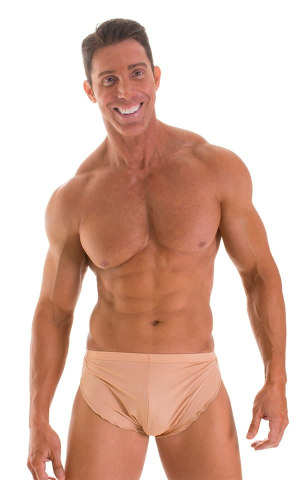 Swimsuit Cover Up Split Running Shorts in Super ThinSKINZ Nude 1