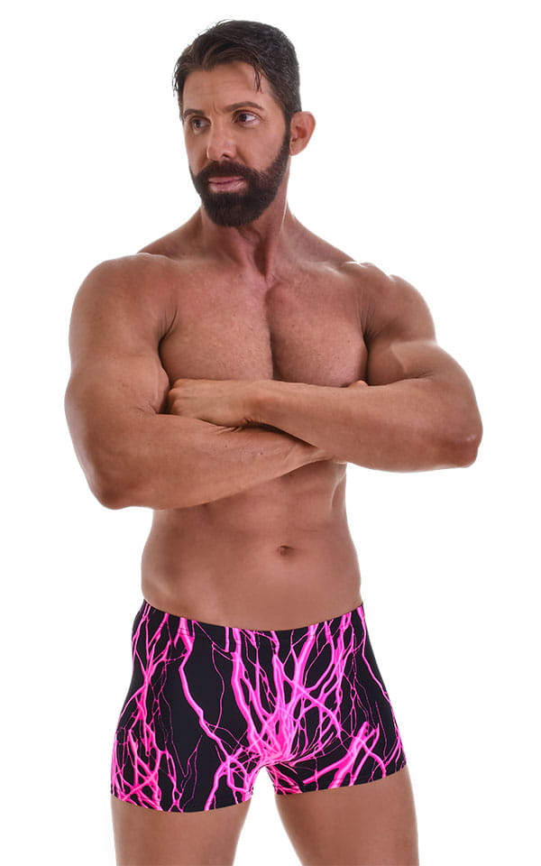 Square Cut Seamless Swim Trunks in Hot Pink Lightning 1