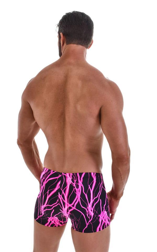 Square Cut Seamless Swim Trunks in Hot Pink Lightning 3