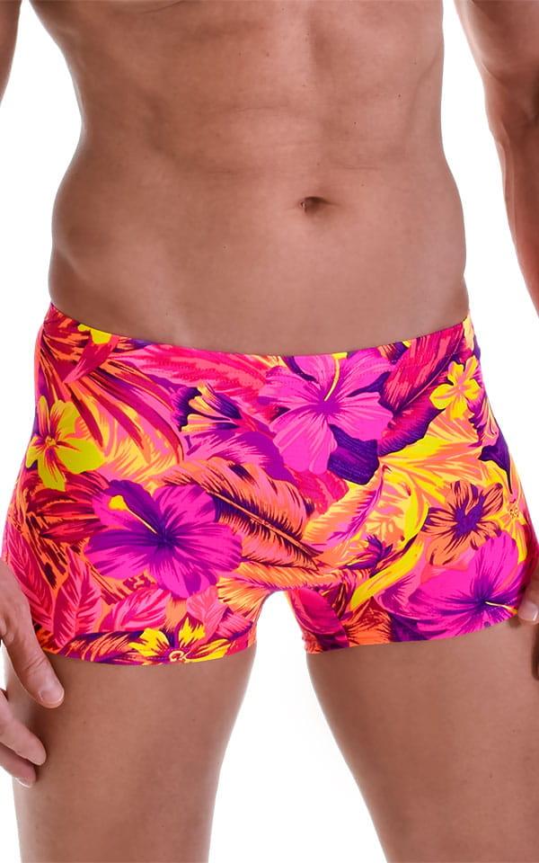 Square Cut Seamless Swim Trunks in Tahitian Sunset 4