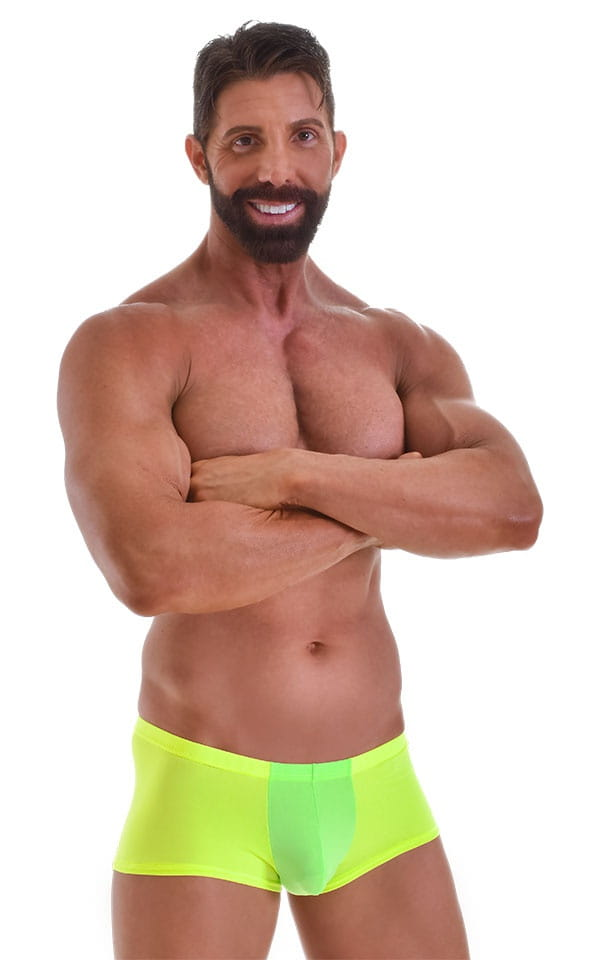Fitted Pouch - Boxer - Swim Trunks in Neon Lime Yellow 1